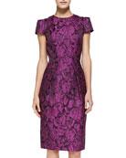 Cap-Sleeve Floral Sheath Dress