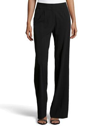 Tawanda Classic Flare-Leg Pants, Black