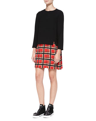 Toto Long-Sleeve Plaid-Skirt Dress