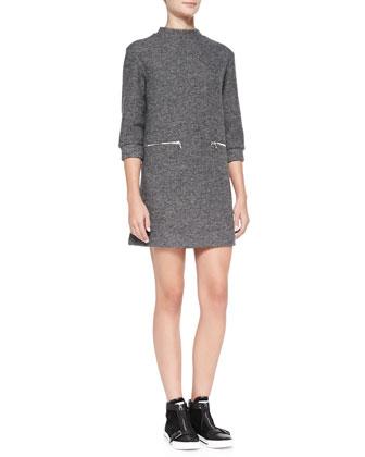 Liya 3/4-Sleeve Metallic Shift Dress