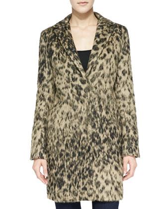 Alpaca Leopard-Print Lab Coat