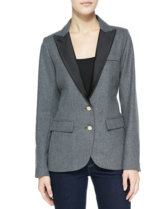 Boy Satin-Collar Flannel Blazer
