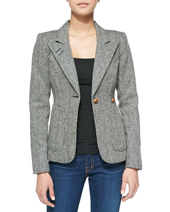 RtA Denim Duchess Tweed Elbow-Patch Blazer, Freestyle Ballet-Neck Jersey ...