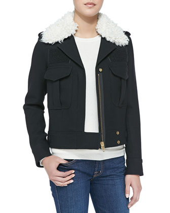 Zip Jacket w/Detachable Faux-Shearling Collar