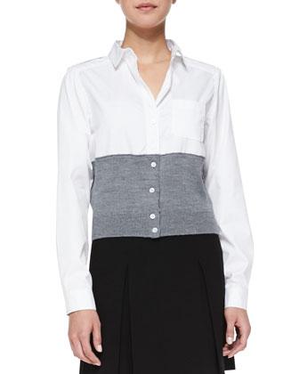 Hiro Long Felt Coat, Miki Oxford/Knit Combo Blouse & Yumi Pleated Crepe ...