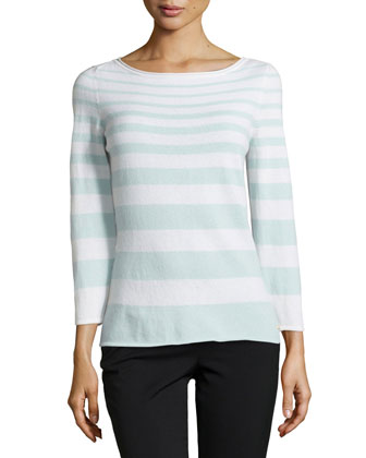 Sylinde Cashmere Striped Sweater, Opal/Blue