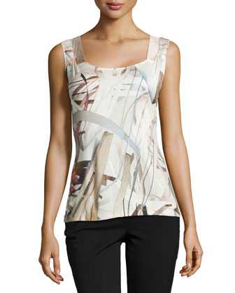 Socorro Printed Sleeveless Knit Top, Feather