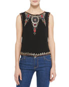 Cecillie Embellished-Trim Silk Top