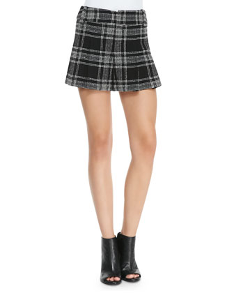 Plaid Tweed Wide-Leg Shorts
