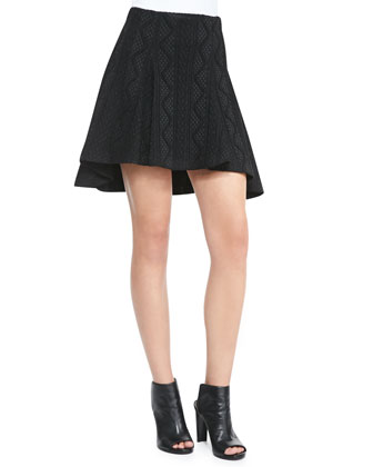 Ida Structured Arch-Hem Top & Sibel High-Low Patterned Skirt
