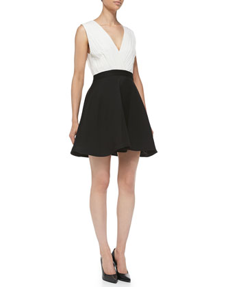 Tobin Two-Tone Sleeveless Combo Dress