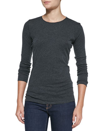 Knit Crewneck Long-Sleeve Top, Ocean