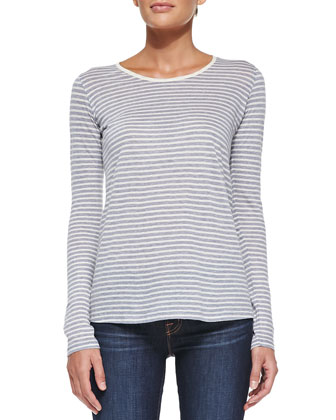 Striped Knit Boat-Neck Top