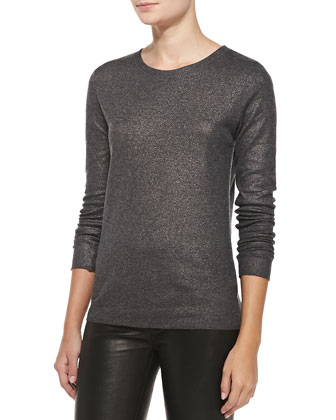 Metallic Knit Crewneck Sweater