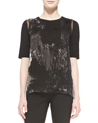 Rachelle Elbow-Sleeve Brushstroke-Print Blouse