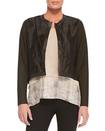 Astor Cropped Perforated Jacket & Rudy Sleeveless Two-Tiered Blouse