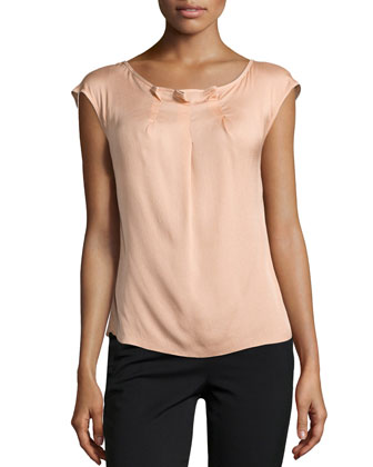 Najja Silk Cap-Sleeve Top, Desert Rose