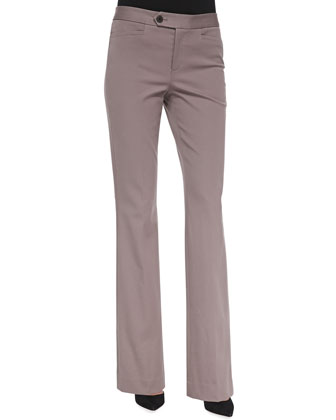 Flared Bi-Stretch Fashion Trousers