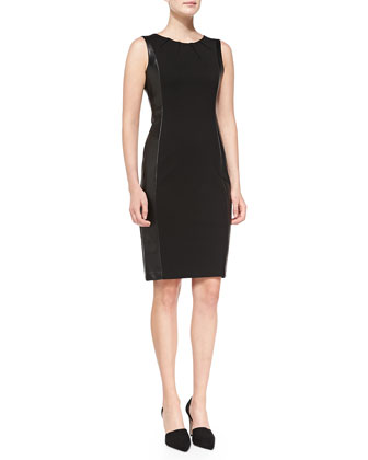 Mia Side Croc-Panel Sheath Dress
