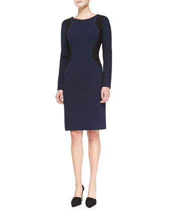 Portia Long-Sleeve Contour Sheath Dress