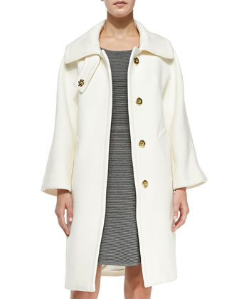 Manon Wool-Blend Coat & Textured Fit-and-Flare Knit Dress