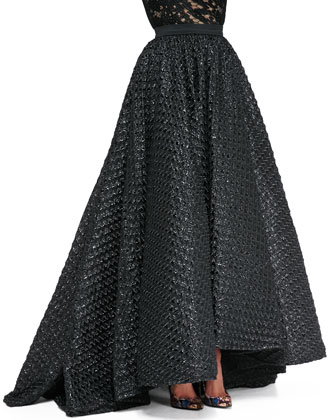 Bell-Sleeve Reptile Lace Blouse & Waffle-Texture Ball Skirt