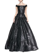 Off-Shoulder Belted Marble-Pattern Gown