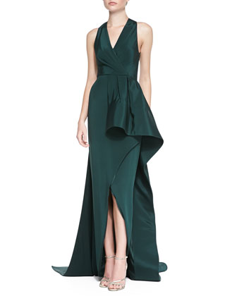 Pleated Ruffle-Side Gown w/ Train