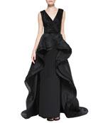 Sleeveless Flounce Overlay Gown