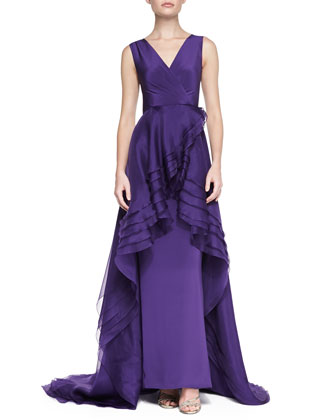 Sleeveless Cascading Ruffle Gown