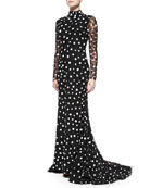 Beaded Embroidered Dotted Gown