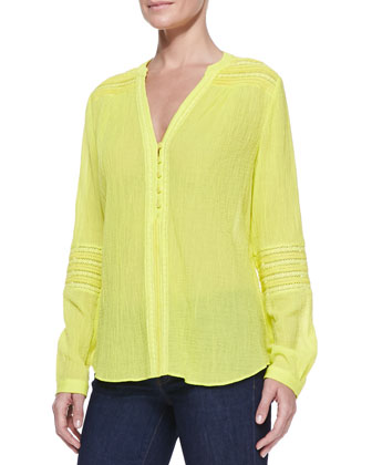 Gaylen Long-Sleeve Crochet-Band Top, Canary Yellow