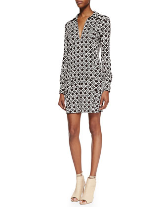Dilly Long-Sleeve Wicker Print Shirtdress, Black/Caning Mocha