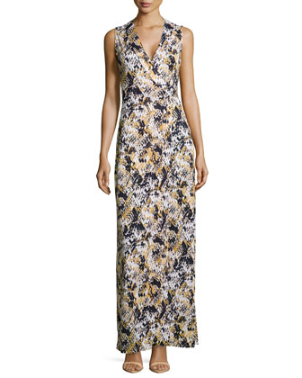 Silk Snakeskin-Print Maxi Dress