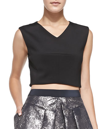 Sleeveless V-Neck Crop Top