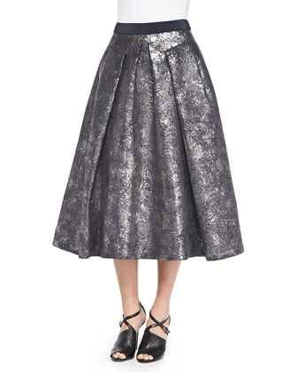 Pleated Foil Matelass?? Skirt