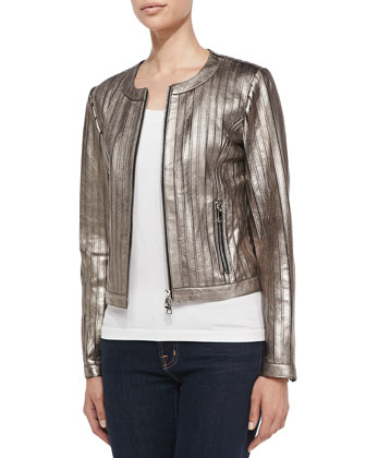 Pintuck Metallic Leather Jacket