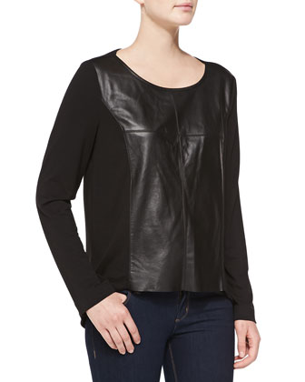 Leather-Front Knit Top