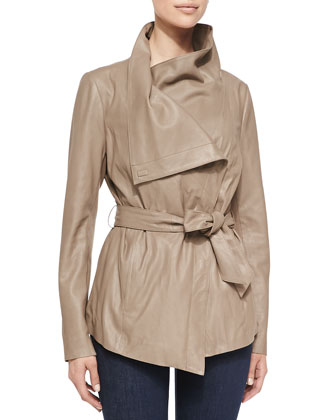 Claudette Tie-Front Leather Jacket