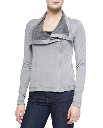 Asymmetric Zip Jacket w/ Relaxed Collar