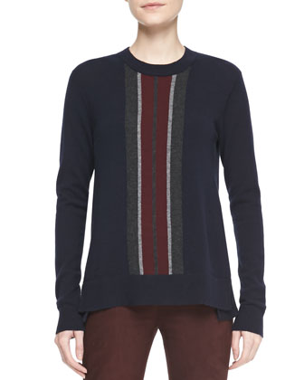 Asymmetric Shearling Coat, Cashmere Regimental-Stripe Sweater & Suede ...