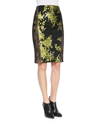 Soire Chinoiserie-Patterned Skirt with Lace Sides