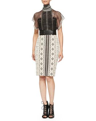 Short-Sleeve Mixed Pattern Dress