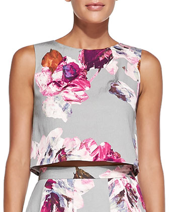 Mara Floral-Print Crop Top