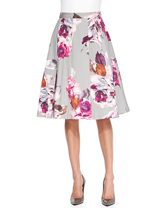 Milan Pleated Floral-Print Skirt