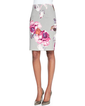 Carola Short-Sleeve Relaxed Top & Ciara Floral-Print Pencil Skirt