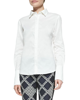 Eliane Poplin Long-Sleeve Blouse, White