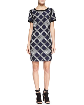 Trish Geometric-Print Solid-Trim Dress