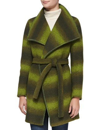 Wool-Blend Ombre Wrap Coat