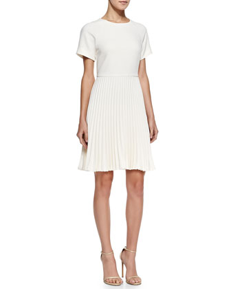 Estrella Pleated-Skirt Crepe Dress